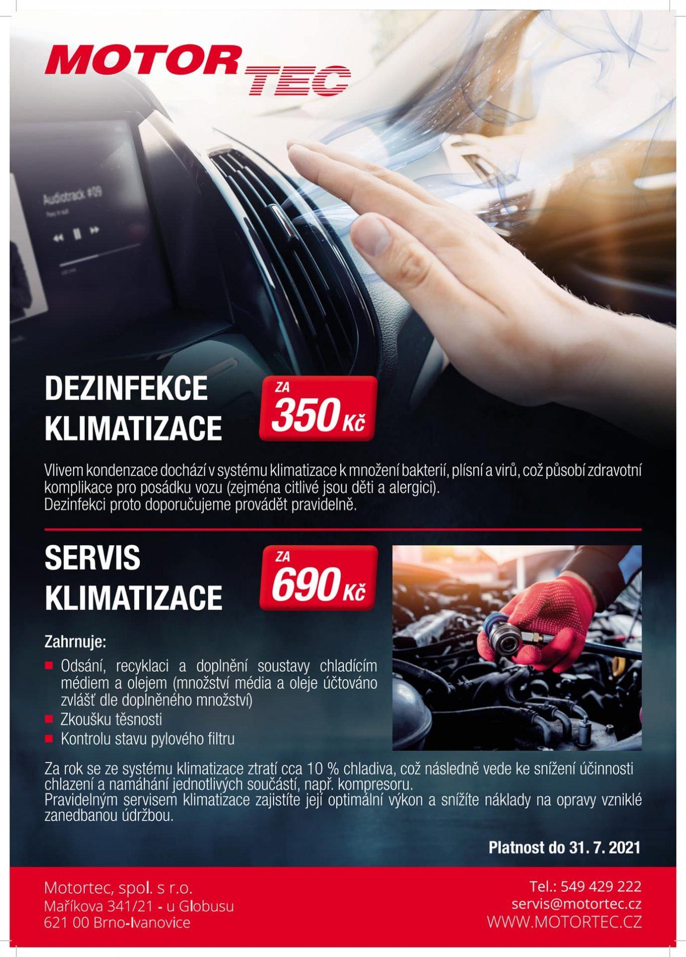 Servis a dezinfekce klimatizace MOTORTEC Brno